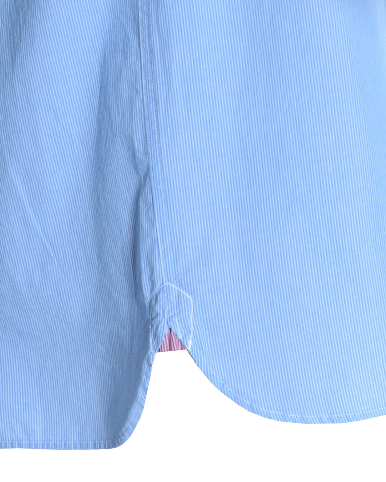 Double two blue pinstripe casual shirt for Light blue pinstripe shirt