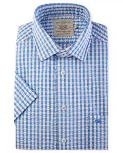 Blue Seersucker Check Short Sleeve Casual Shirt Front