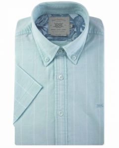 Mint Wide Stripe Short Sleeve Casual Shirt Front