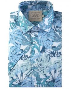 Blue Tropical Leaf Print Short Sleeve Casual Shirt Front