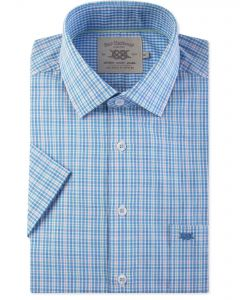 Blue and Green Check Short Sleeve Casual Shirt Front