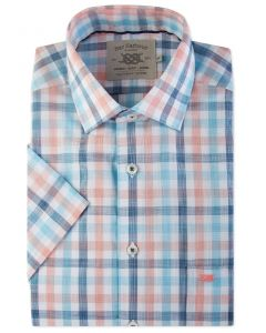 Peach and Blue Check Short Sleeve Casual Shirt Front
