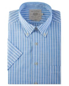 Pale Blue Stripe Short Sleeve Casual Shirt Front