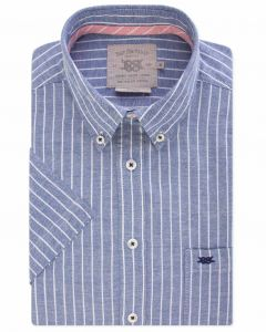 Blue and White Oxford Stripe Short Sleeve Casual Shirt