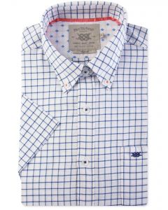 Navy Square Check Short Sleeve Casual Shirt Front