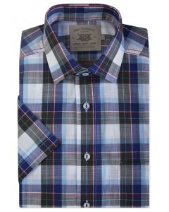 Blue, Navy and Red Check Short Sleeve Casual Shirt Front