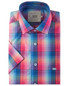 Bright Rainbow Check Short Sleeve Casual Shirt Front