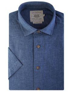 Denim Blue Linen Blend Short Sleeve Casual Shirt Front