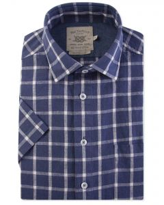 Denim Blue and White Check Short Sleeve Casual Shirt Front