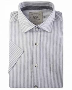 Recycled Cotton Grey and White Stripe Short Sleeve Casual Shirt Front