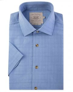Blue Soft Touch Short Sleeve Casual Shirt Front