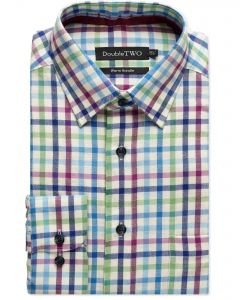 Blue Rainbow Tattersall Check Warm Handle Shirt
