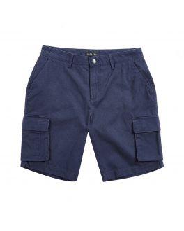 Navy Soft Finish Cotton Cargo Shorts