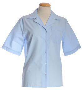 Glacier Blue Open Neck Short Sleeve Women's Shirt