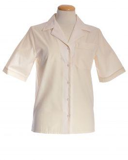 Cream Open Neck Short Sleeve Women's Shirt