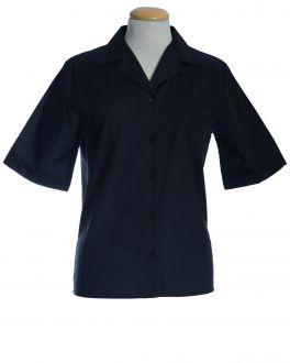 Black Open Neck Short Sleeve Women's Shirt
