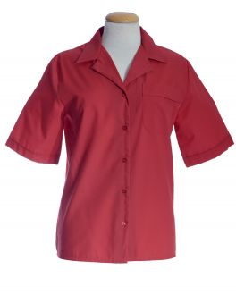 Red Open Neck Short Sleeve Women's Shirt