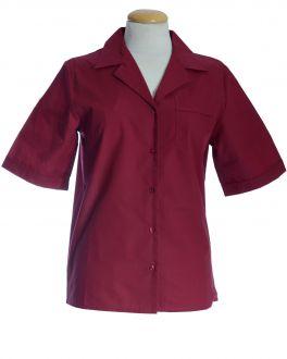 Burgundy Open Neck Short Sleeve Women's Shirt