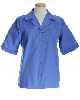 Midnight Blue Open Neck Short Sleeve Women's Shirt