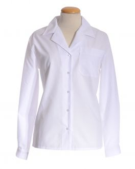 White Open Neck Long Sleeve Women's Shirt