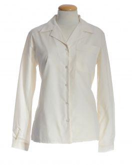 Cream Open Neck Long Sleeve Women's Shirt
