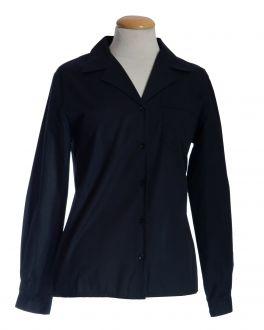 Black Open Neck Long Sleeve Women's Shirt