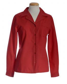 Red Open Neck Long Sleeve Women's Shirt