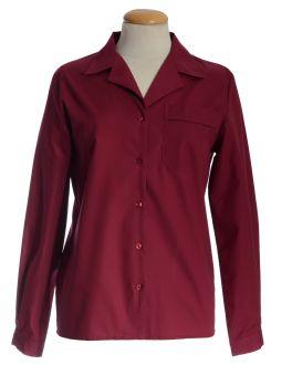 Burgundy Open Neck Long Sleeve Women's Shirt