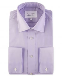 Lilac Double Cuff Pure Cotton Non Iron Shirt