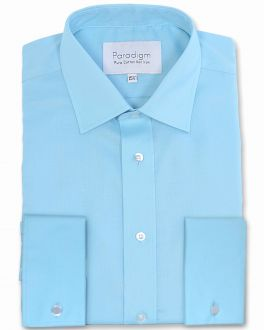 Azure Blue Double Cuff Pure Cotton Non Iron Shirt