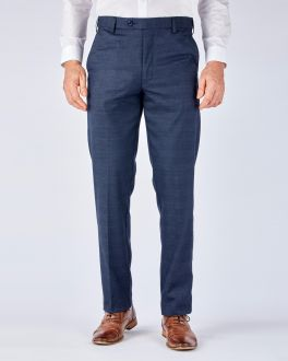 Blue Check Formal Stretch Trousers