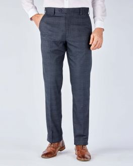 Slate Grey Check Stretch Formal Trousers