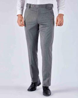 Grey Diamond Weave Stretch Formal Trousers