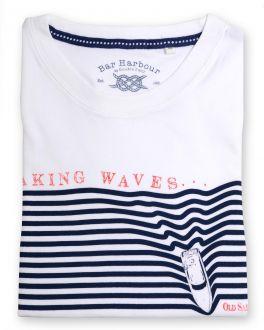 White Waves Print T-Shirt