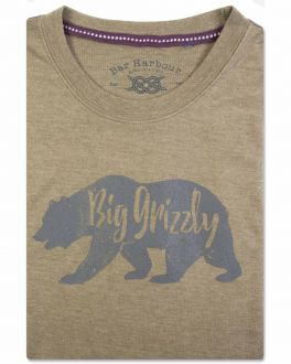 Bar Harbour Moss Green Grizzly Print T-Shirt