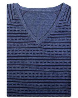 Bar Harbour Blue Printed Stripe V-Neck T-Shirt