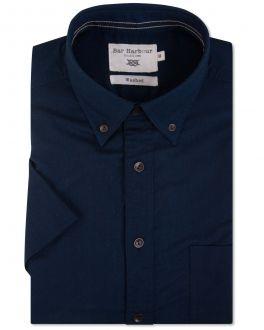 Bar Harbour Indigo Oxford Button Down Short Sleeve Casual Shirt