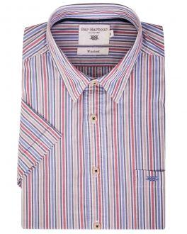 Red Multi Stripe Short Sleeve Casual Shirt