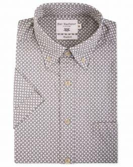 Bar Harbour Moss Green Squiggle Print Short Sleeve Casual Shirt