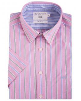 Bar Harbour Pink Pastel Stripe Short Sleeve Casual Shirt
