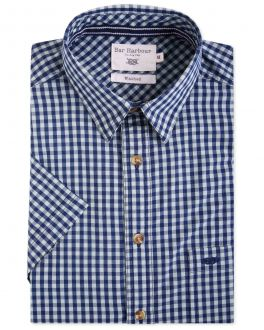 Bar Harbour Green and Navy Check Short Sleeve Casual Shirt