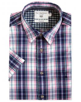 Bar Harbour Pink and Blue Check Short Sleeve Casual Shirt