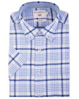 Bar Harbour Blue Check Oxford Short Sleeve Casual Shirt