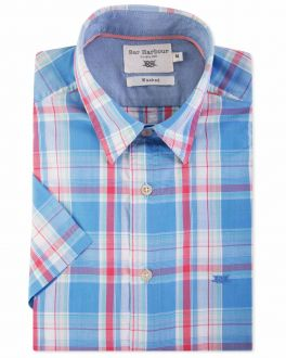 Coral and Blue Check Short Sleeve Casual Shirt