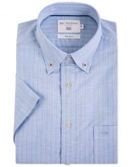 Bar Harbour Pale Blue Stripe Oxford Short Sleeve Casual Shirt