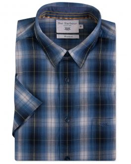 Bar Harbour Yellow and Blue Check Short Sleeve Casual Shirt