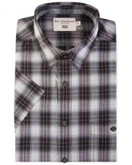 Black Check Short Sleeve Casual Shirt