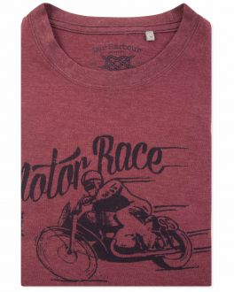Men's Brick Red Motor Race Print T-Shirt