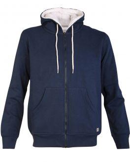 Men's Navy Fleece Lined Zip Hoodie Front