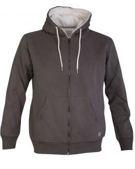 Men's Grey Fleece Lined Zip Hoodie Front